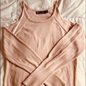 New York & Co Blush cold shoulder sweater